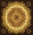 Beautiful circle brown golden floral background vector