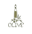 Branch of olives and a bottle of olive oil vector