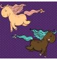 Cute cartoon horses vector