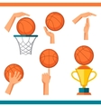 Basketball icon set of gestures and symbols in vector
