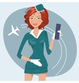 Girl in stewardess uniform vector