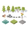 Flat elements of nature trees bushes rocks vector