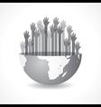 Grey raised hand on the half earth symbol vector
