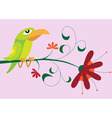 Bird sitting on flower vector