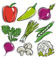 Set of vegetable pepper onions beans vector
