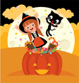Witch and her cat celebrate halloween vector