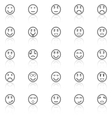 Circle face line icons with reflect on white vector