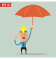 Business cartoon holding umbrella for ind care and vector