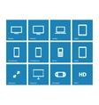 Screens icons on blue background vector