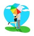 Couple under umbrella vector