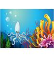 A deep sea with an octopus vector