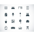 Black furniture icons set vector