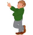 Happy cartoon man standing in green sweater and vector