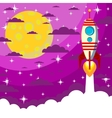 Space rocket  moon in the starry sky with space vector