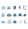 Office and business icons blue series vector
