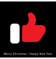 Red mitten thumb up icon on black background vector