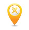 Wireless icon yellow map pointer vector