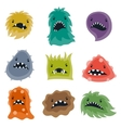 Set of little angry viruses and monsters vector