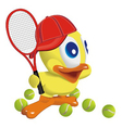 Duck play tennis vector