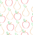 Pears and apples pattern vector