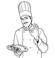 Cook gesture delicious food vector
