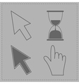 Mouse hand arrows and hourglass grey background vector