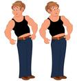 Happy cartoon man standing in sleeveless top vector