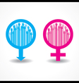 Colorful raised hand in the male and female symbol vector
