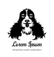 English cocker spaniel black dog logo vector