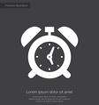 Alarm clock premium icon white on dark background vector