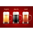 Beer mugs with three brands vector