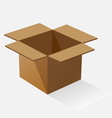 Opened brown paper box with shadow vector