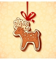 Hand-drawn gingerbread deer with red ribbon vector