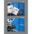 Cinema tri-fold brochure design vector