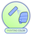 Icons and symbols of car parts - painting color vector