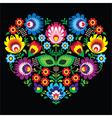 Polish slavic folk art art heart with flowers vector