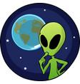 Cartoon alien overlooking planet earth vector