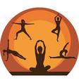Yoga women silhouette vector