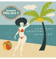 Retro woman on the beach vector
