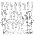 Hand drawn comic collection of men vector