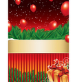 Christmas background with golden ribbon vector