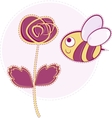 Pink rose with bee vector