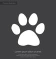 Cat footprint premium icon white on dark backgroun vector