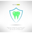 Tooth in a shield icon teeth protection concept vector