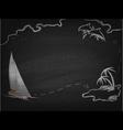 Yacht in ocean drawn on blackboard vector