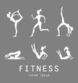 Poses silhouettes yoga set women class center vector