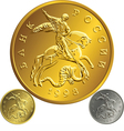 Russian money gold silver ruble coin vector