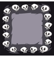Cartoon skulls square frame vector