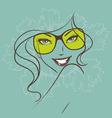 Women face sunglasses green vector