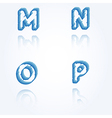 Sketch jagged alphabet letters m n o p vector
